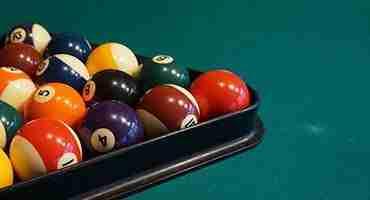 pool balls in rack
