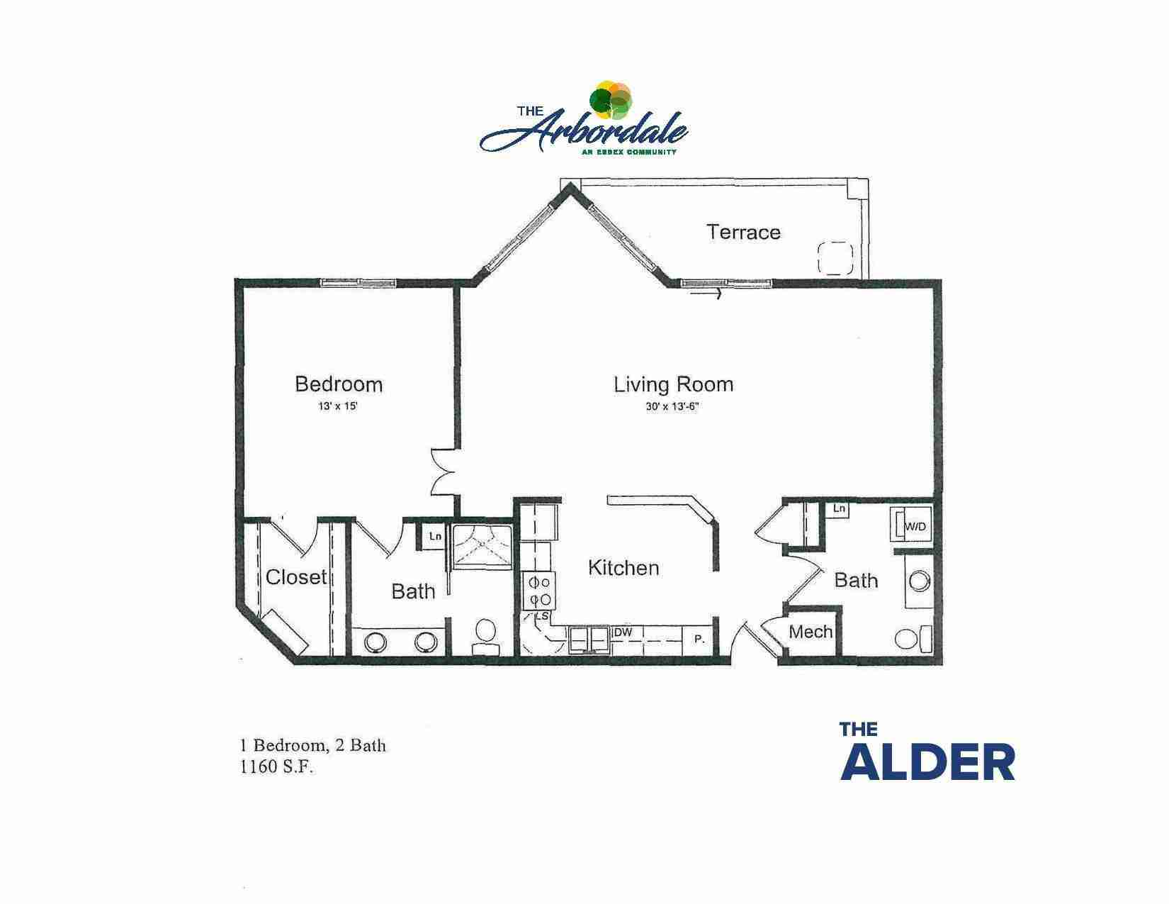 the alder floor plan, 1 bedroom, 2 bath, 1160 sq ft