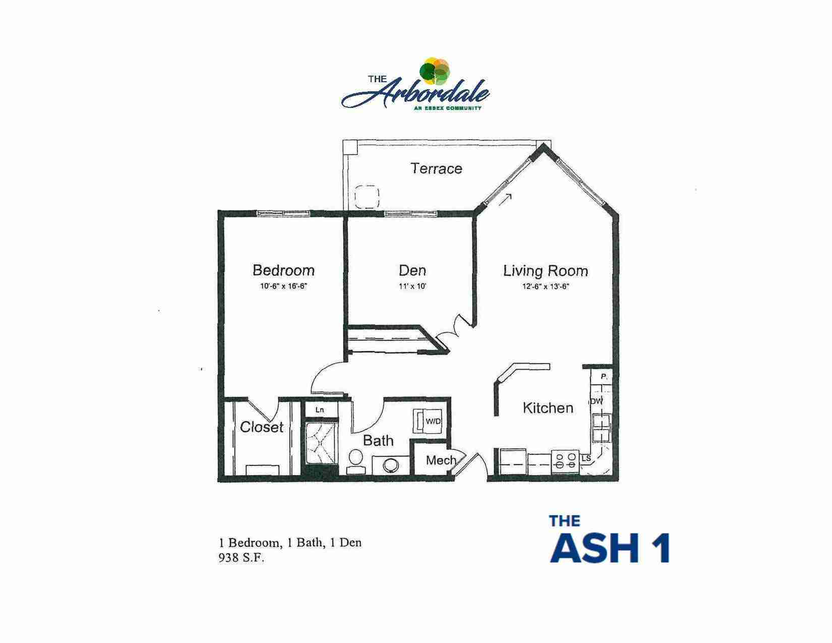 the ash 1 floor plan, 1 bedroom, 1 bath, 1 den, 938 sq ft