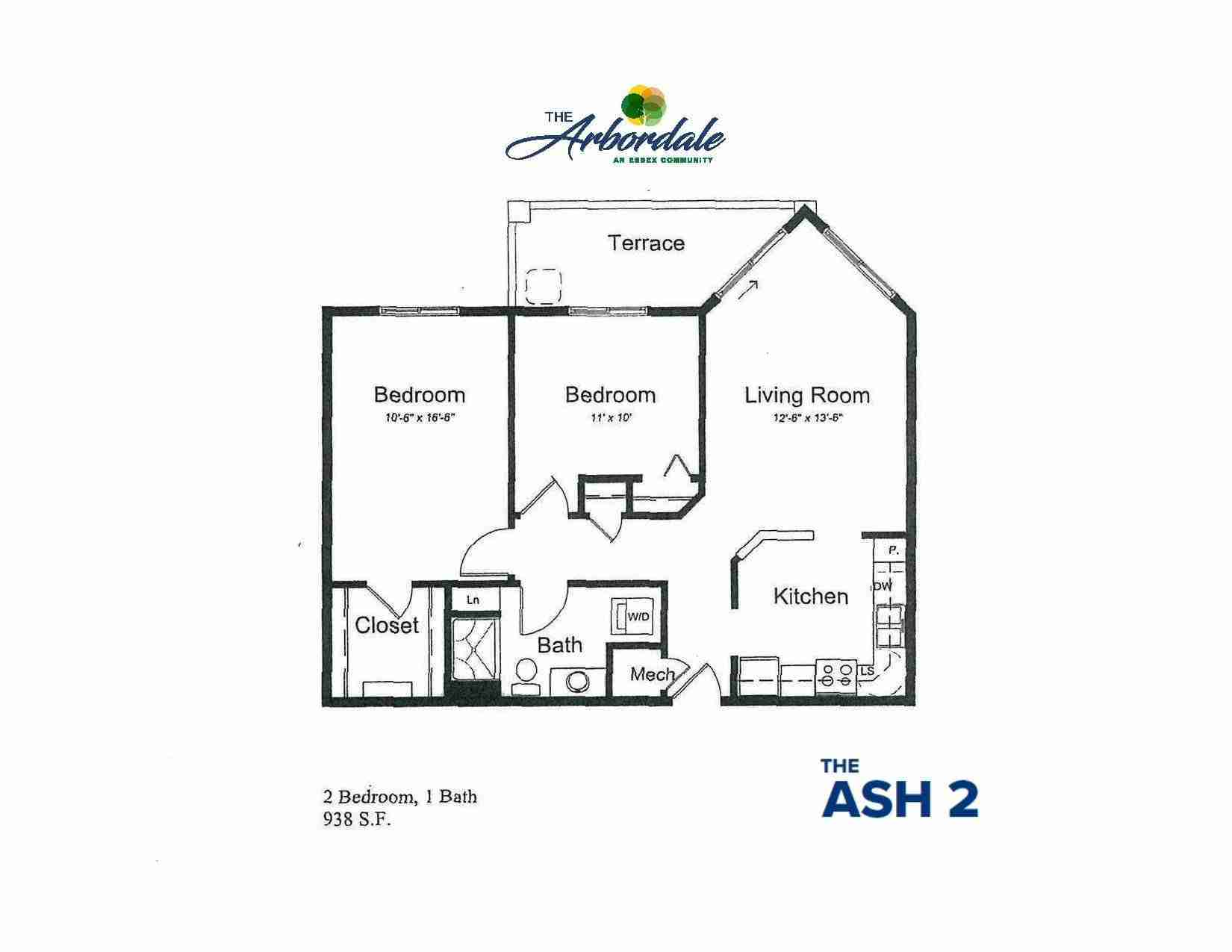 the ash 2 floor plan, 2 bedroom, 1 bath, 938 sq ft