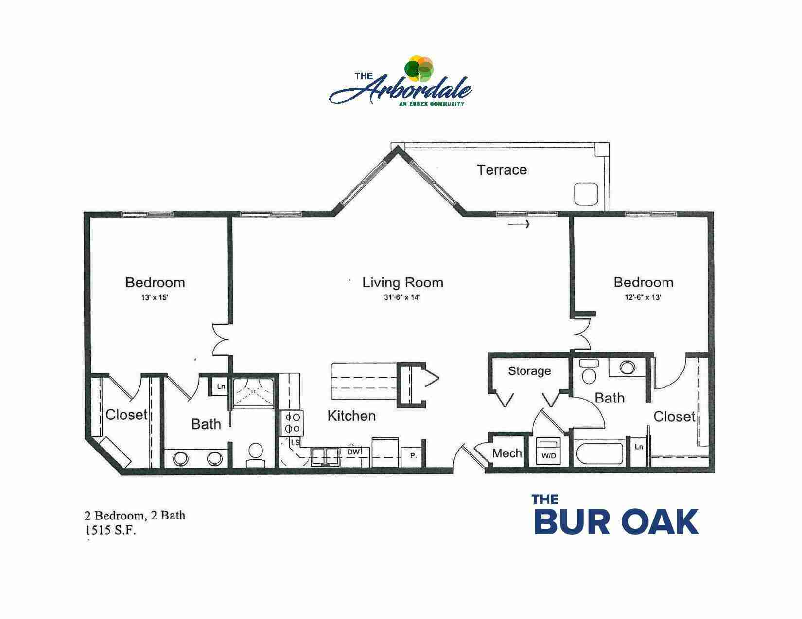 the bur oak floor plan, 2 bedroom, 2 bath, 1515 sq ft