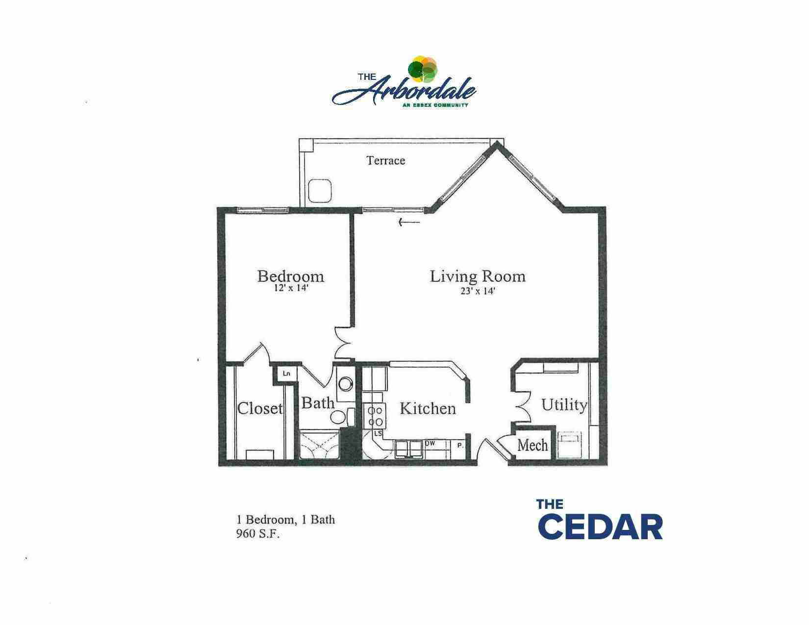 the cedar floor plan, 1 bedroom, 1 bath, 960 sq ft