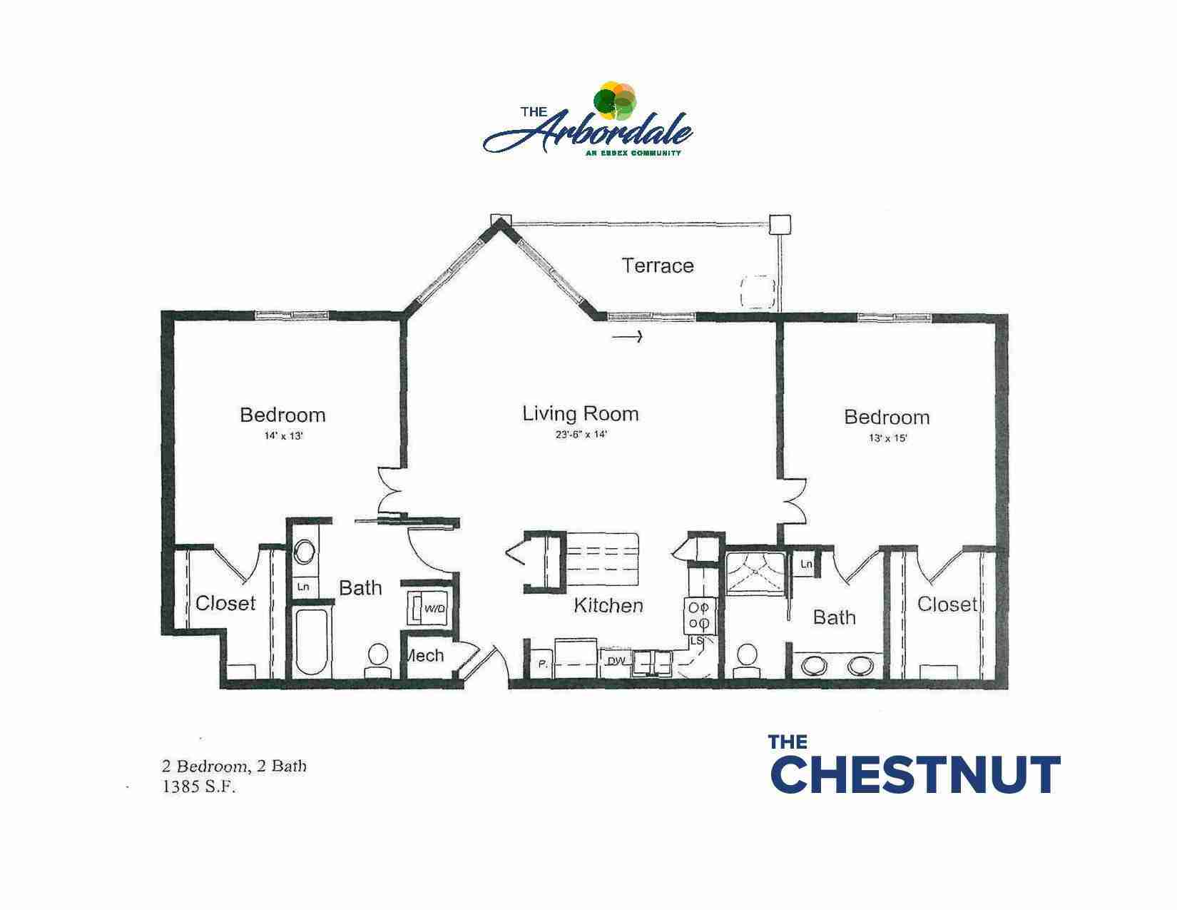 the chestnut floor plan, 2 bedroom, 2 bath, 1385 sq ft
