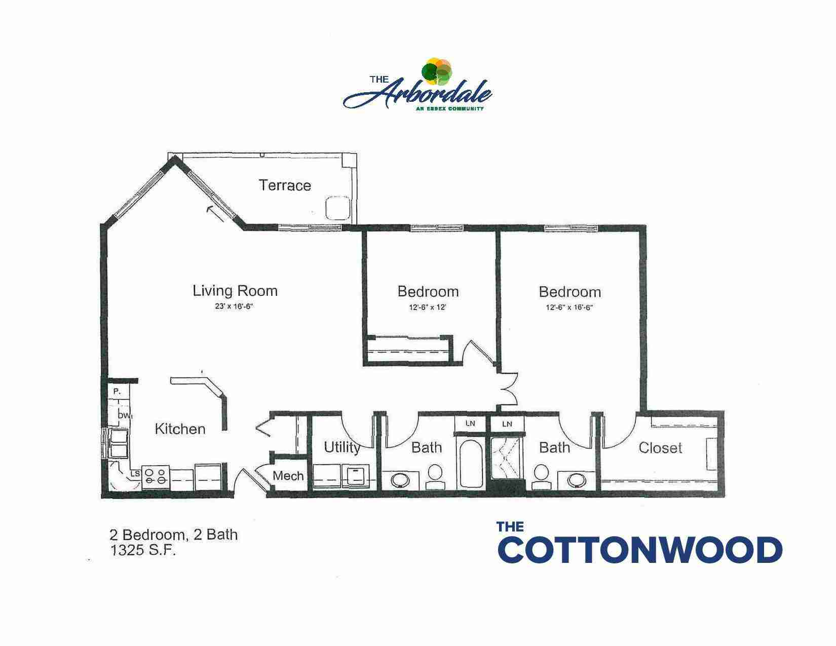 the cottonwood floor plan, 2 bedroom, 2 bath, 1325 sq ft