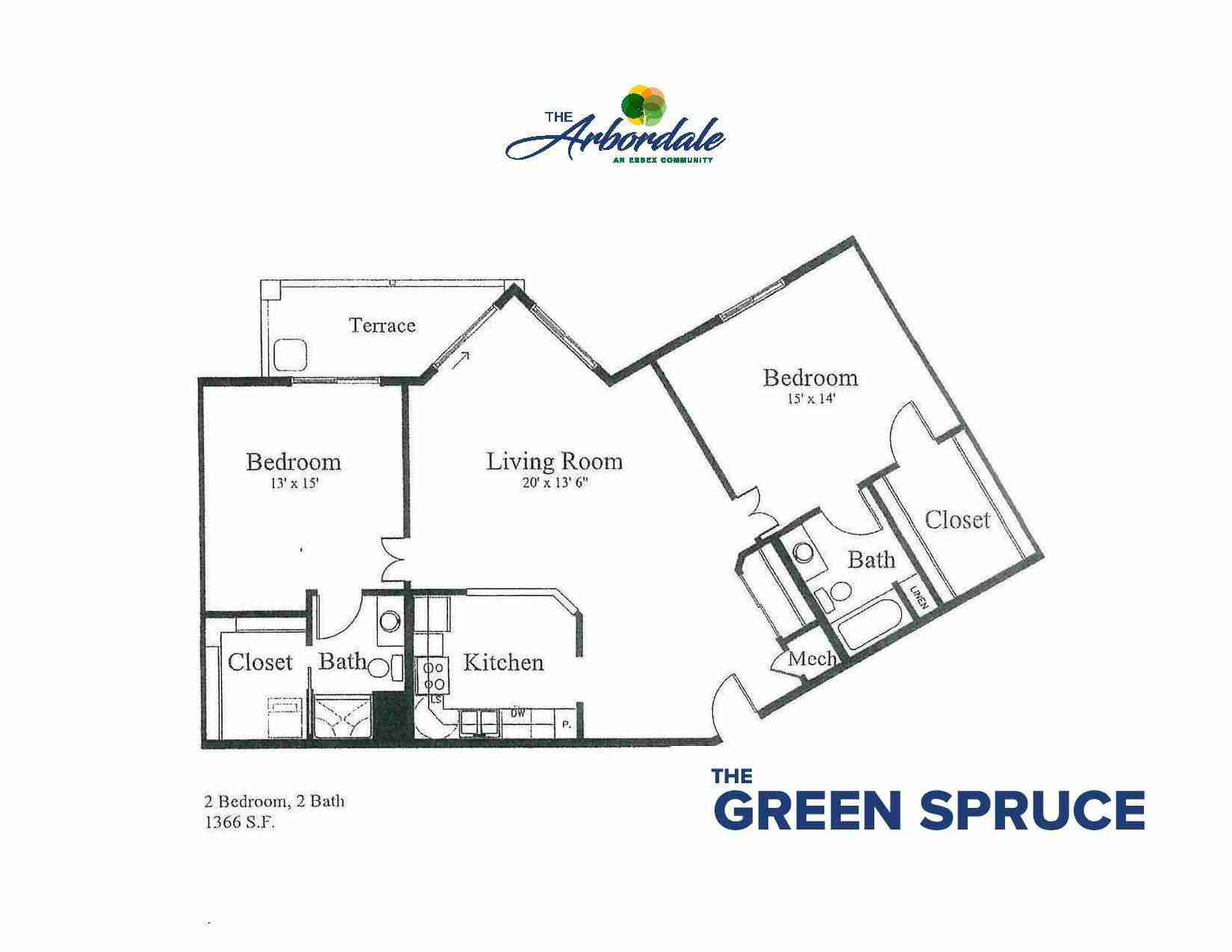 the green spruce floor plan, 2 bedroom, 2 bath, 1366 sq ft