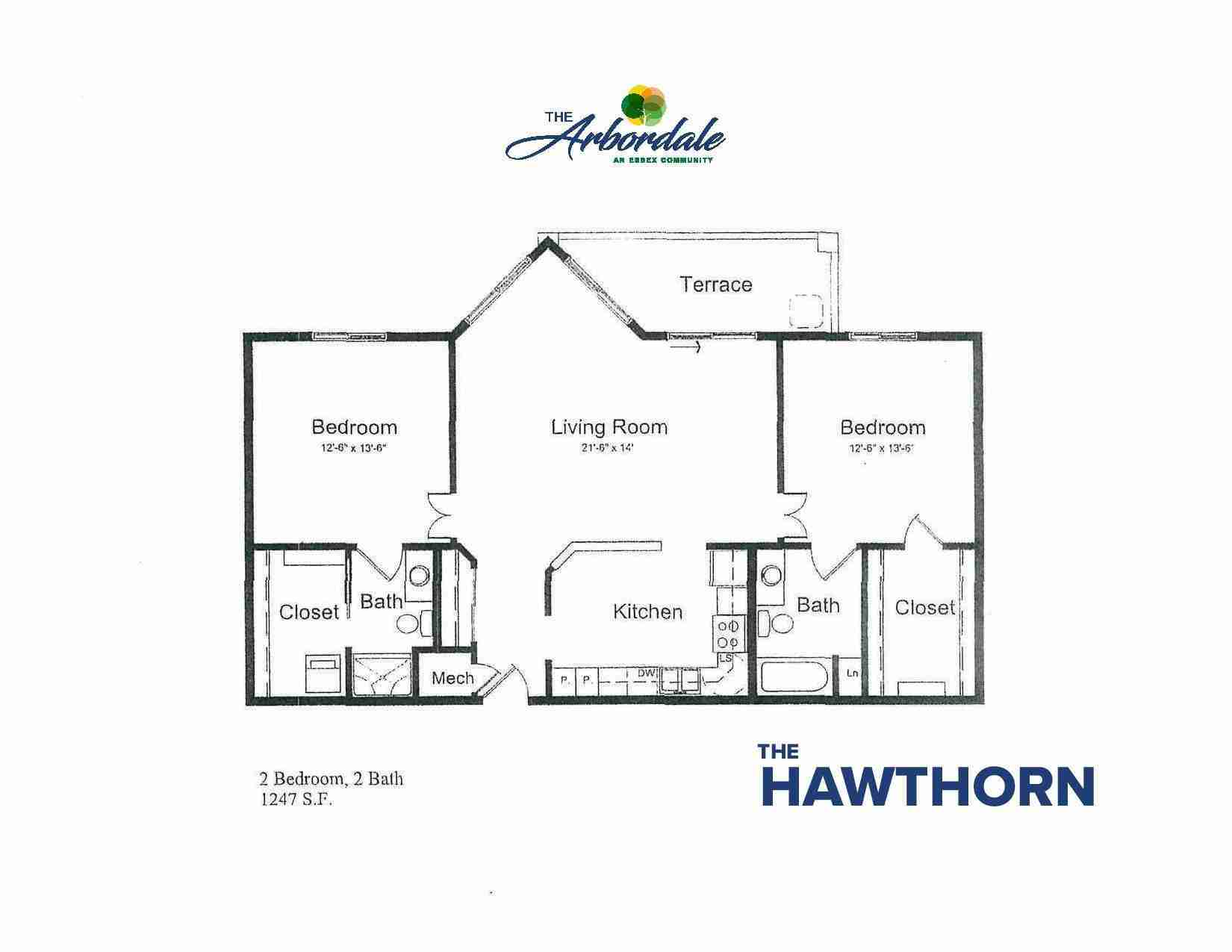 the hawthorn floor plan, 2 bedroom, 2 bath, 1247 sq ft