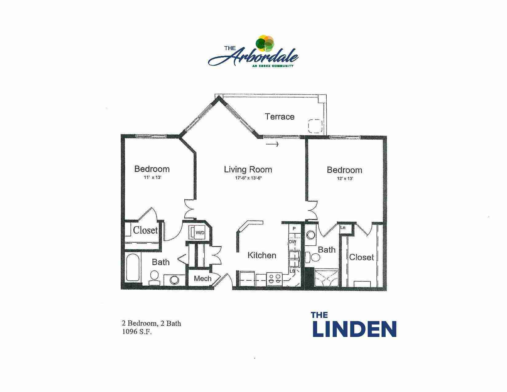 the linden floor plan, 2 bedroom, 2 bath, 1096 sq ft