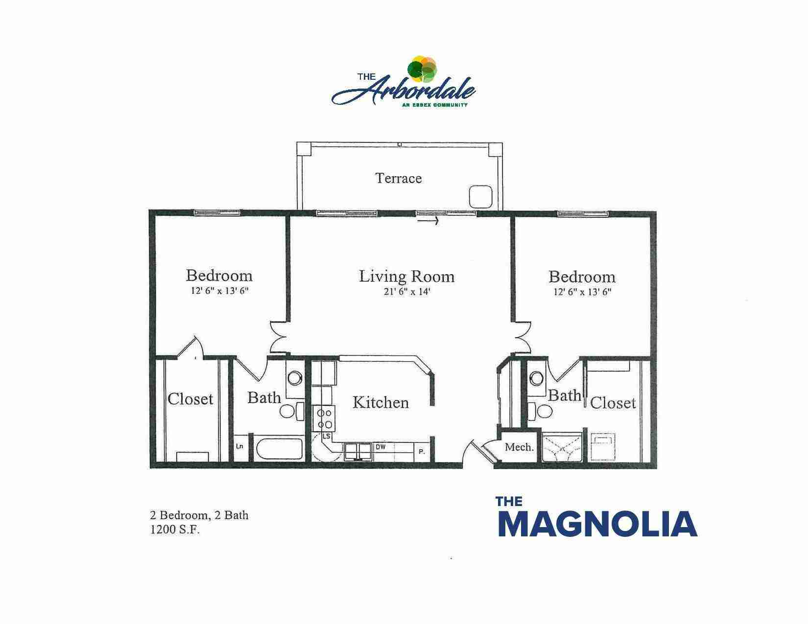 the magnolia floor plan, 2 bedroom, 2 bath, 1200 sq ft