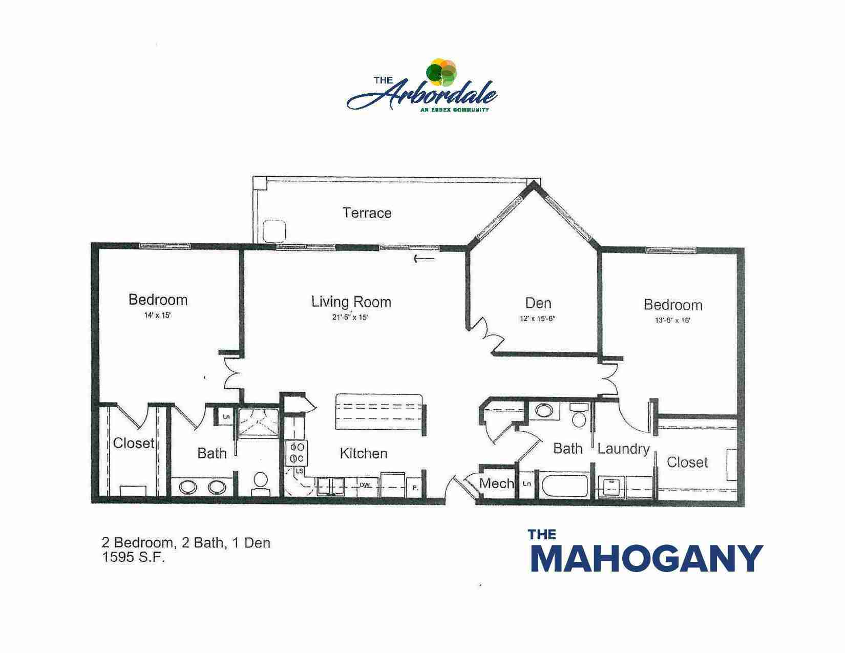 the mahogany floor plan, 2 bedroom, 2 bath, 1 den, 1595 sq ft