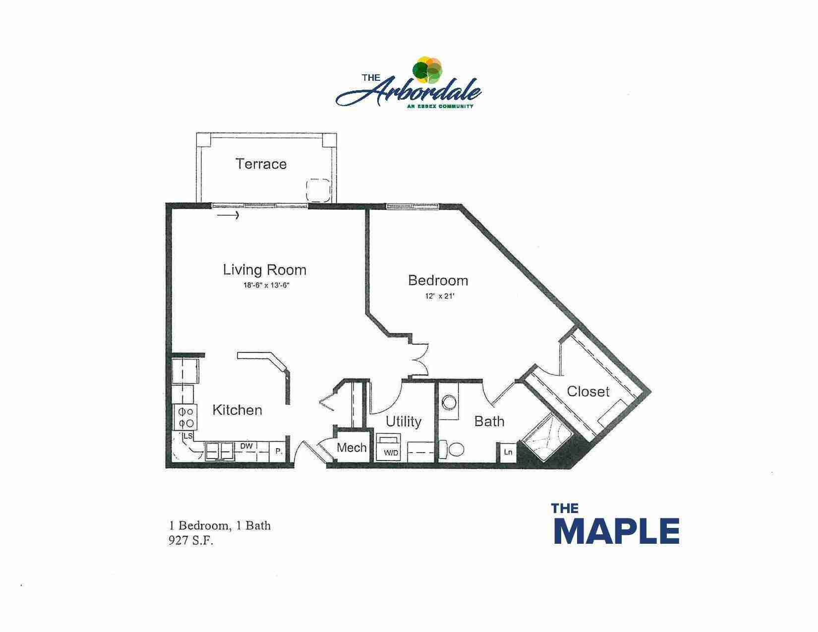 the maple floor plan, 1 bedroom, 1 bath, 927 sq ft