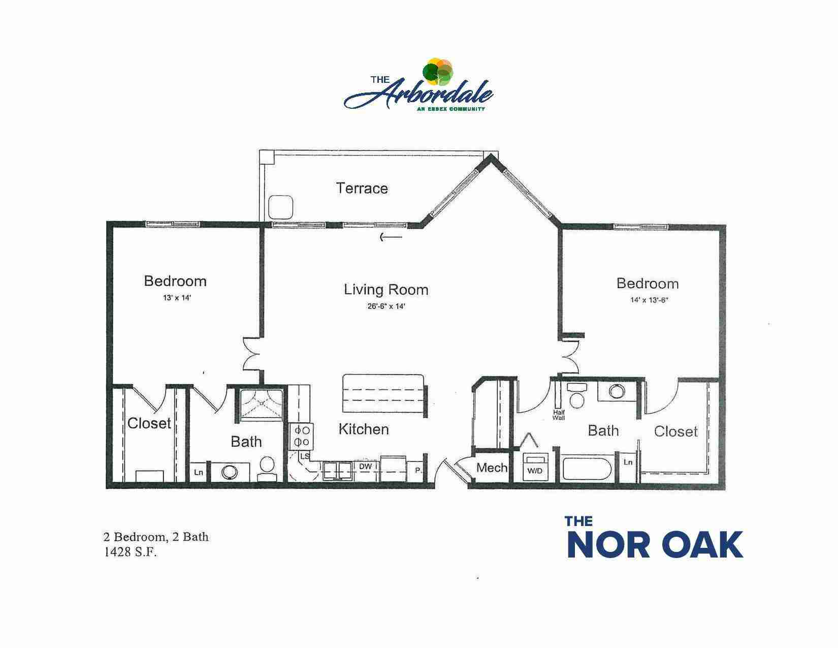 the nor oak floor plan, 2 bedroom, 2 bath, 1428 sq ft