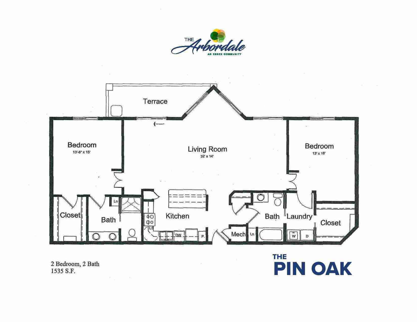 the pin oak floor plan, 2 bedroom, 2 bath, 1535 sq ft