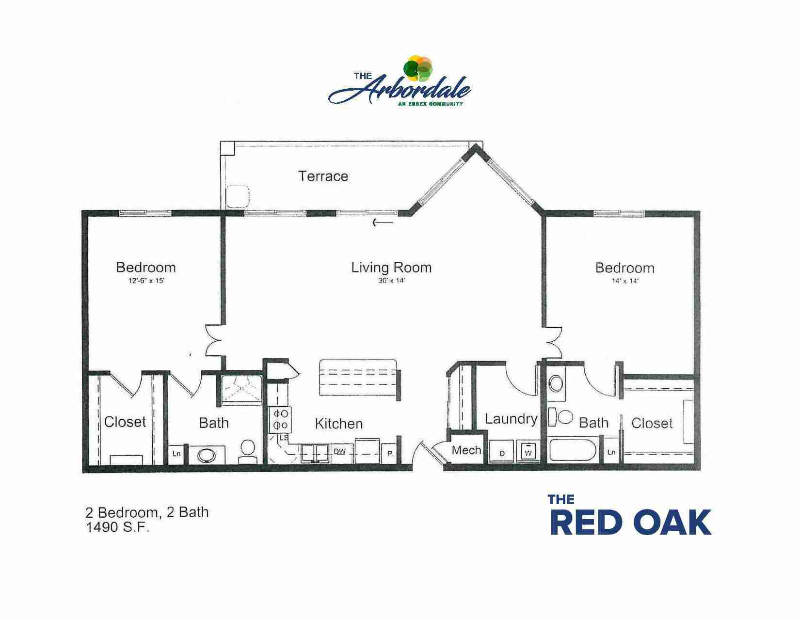 the red oak floor plan, 2 bedroom, 2 bath, 1490 sq ft