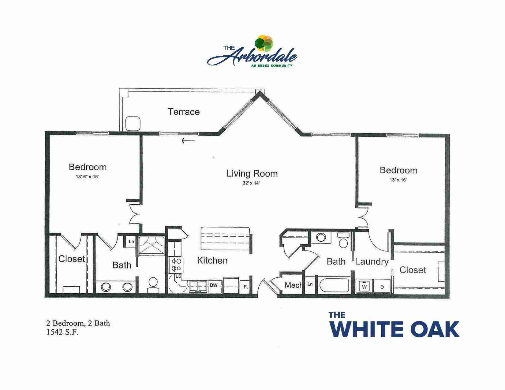 the white oak floor plan, 2 bedroom, 2 bath, 1542 sq ft