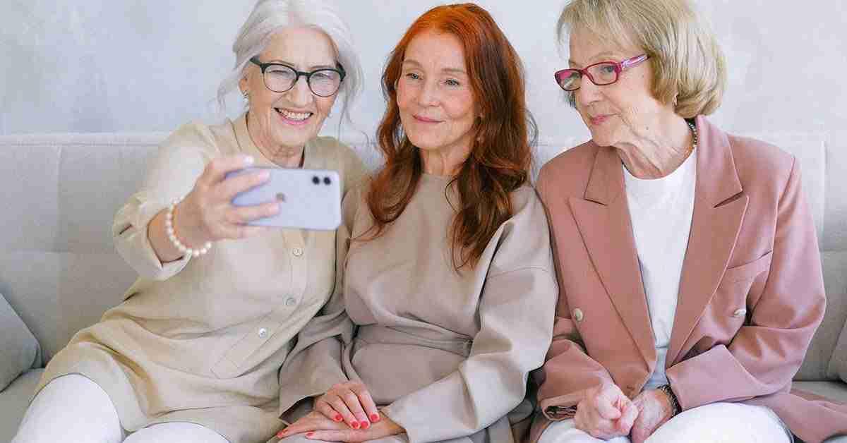 senior women taking selfie